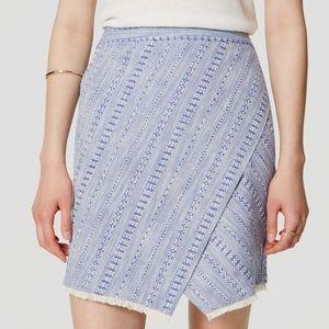 Ann Taylor LOFT Cotton Striped Tweed Wrap Skirt in